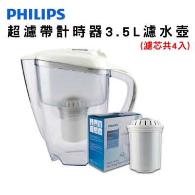 PHILIPS 飛浦利 超濾帶計時器3.5L濾水壺(白) AWP2920 +濾芯*1超值組(濾芯共4入)