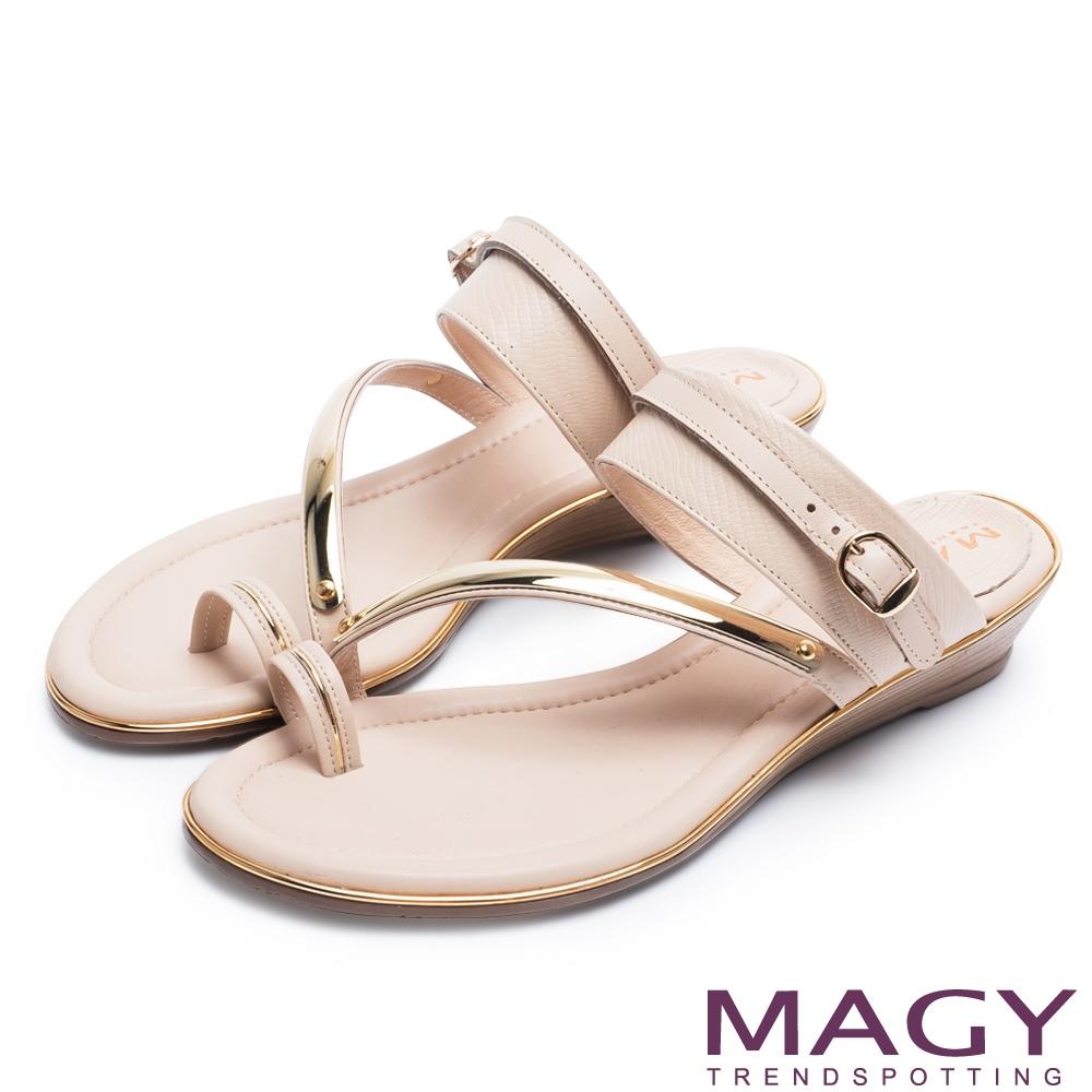 [今日限定] MAGY熱銷平底鞋均價1180 (J.牛皮兩穿套指涼拖鞋 米色)