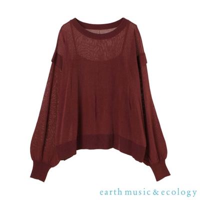 earth music 【SET ITEM】透膚蓬袖薄針織上衣+內搭背心