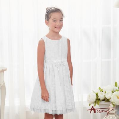 Annys安妮公主-擁抱花兒芬芳-花朵暗紋網紗裙立體玫瑰背心洋裝*8122白