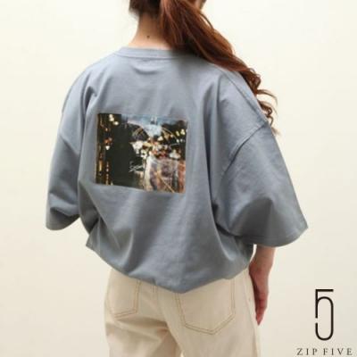ZIP日本男裝 照片+插畫印刷混搭短袖TEE (6色)