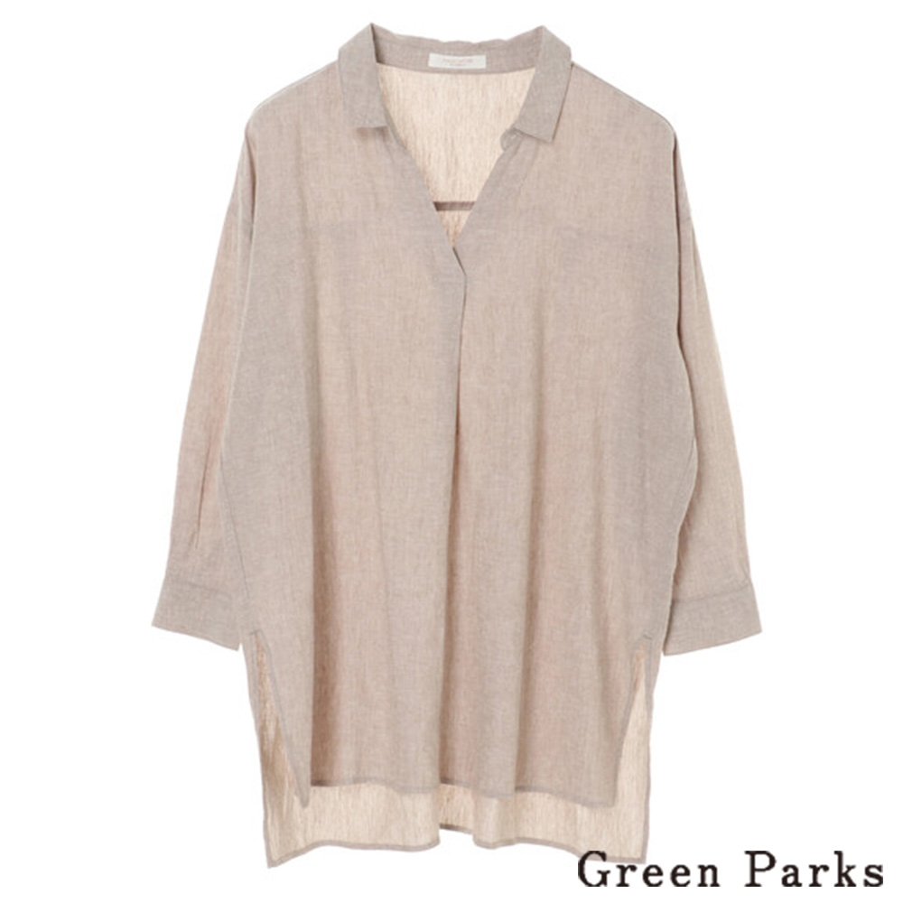 Green Parks 亞麻船型領口長版襯衫上衣