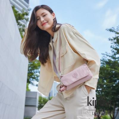 Kipling 氣質玫瑰粉翻蓋肩背側背包-VECKA STRAP