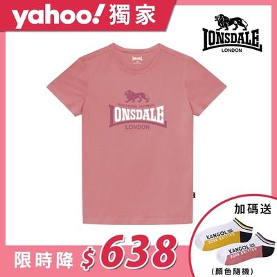 【LONSDALE 英國小獅】經典LOGO短袖T恤-粉色LT001