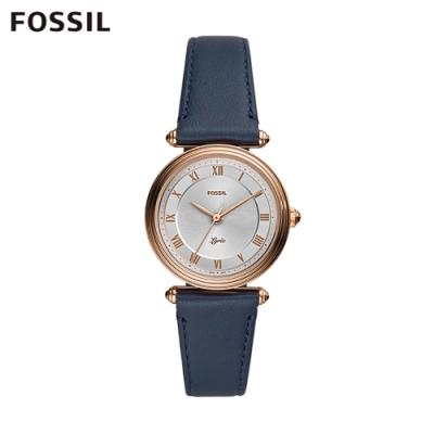 FOSSIL LYRIC 詩意流韻圓形皮革女錶-藍色 32MM ES4708