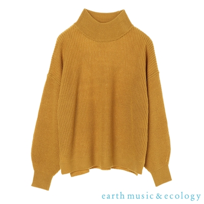 earth music 寬鬆剪裁落肩高領針織上衣