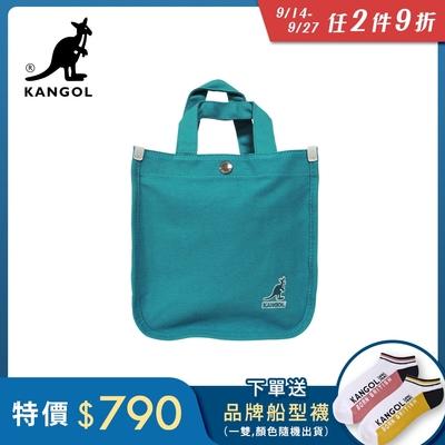 KANGOL 韓版極簡玩色-MINI帆布斜背小方包-青藍AKG1215