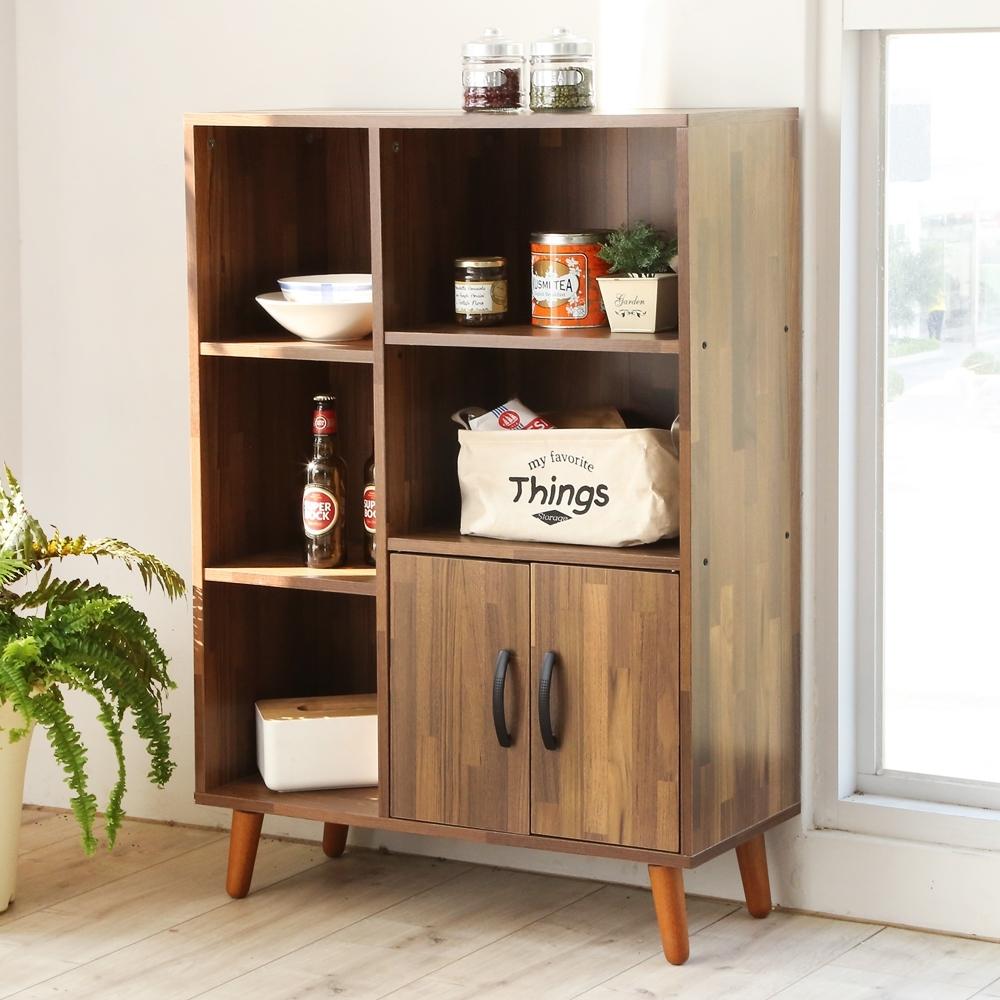 澄境 工業風五格雙門書櫃/收納櫃/廚房櫃72x30.5x102.5cm-DIY