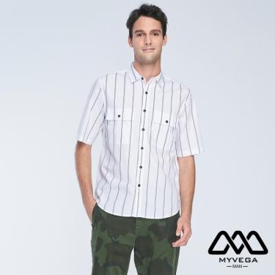 MYVEGA MAN落肩oversize寬條紋口袋短襯衫-白