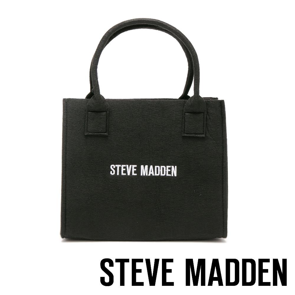 STEVE MADDEN-經典品牌LOGO羊毛氈袋小提包-黑色