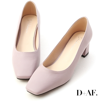 D+AF 輕透春氛.素面方頭中跟鞋*紫