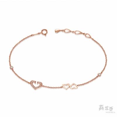 SOPHIA 蘇菲亞珠寶 - 心有所屬 18K玫瑰金 鑽石手鍊