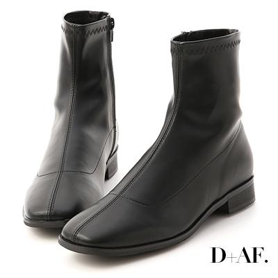 D+AF 定番焦點.中車線方頭低跟襪靴*黑