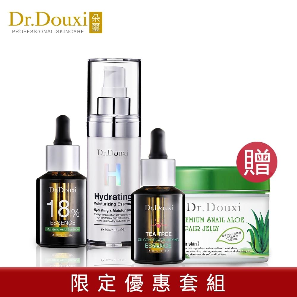 Dr.Douxi朵璽 玻尿酸精華液30ml+杏仁酸18%30ml 贈茶樹凝露30ml+蝸牛蘆薈凍膜500g