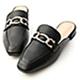 D+AF 美好年代.金屬環釦低跟穆勒鞋*黑 product thumbnail 1