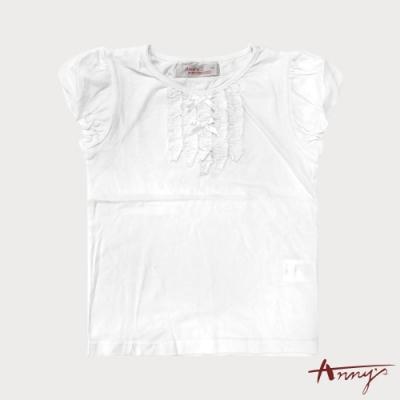 Annys安妮公主-雙蝴蝶結抓褶造型春夏款公主袖上衣*0192白色