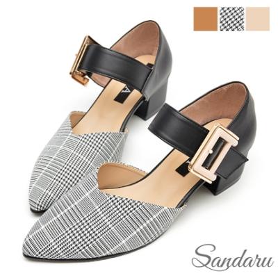 山打努SANDARU-尖頭鞋 時尚大金扣千鳥格低跟鞋-黑紋
