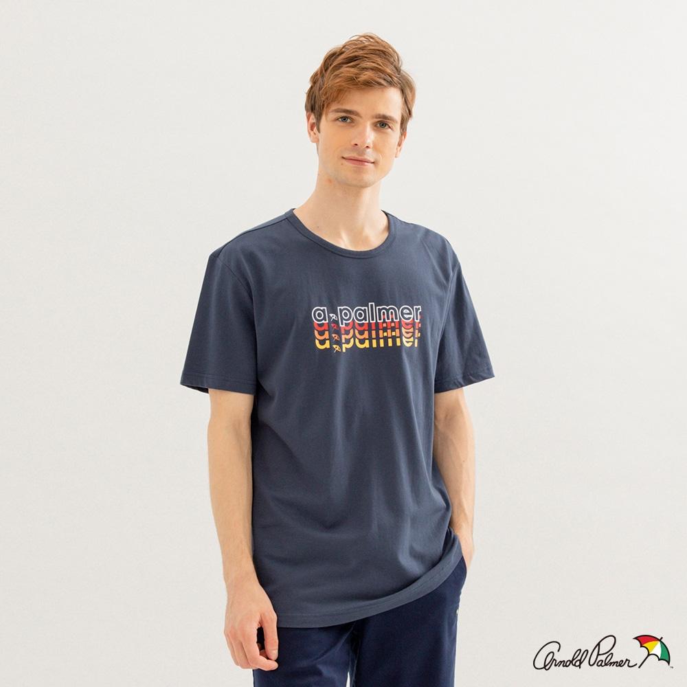 Arnold Palmer -男裝-多色疊字LOGO印花TEE-藍色