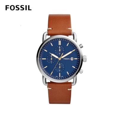 FOSSIL COMMUTER 移動紳士三眼計時男錶-焦糖/藍色 約42mm FS5401