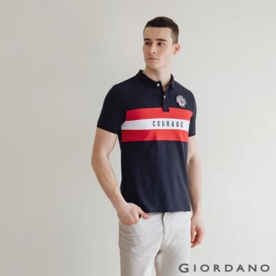 GIORDANO  男裝UNION JACK POLO衫 - 05 標誌海軍藍