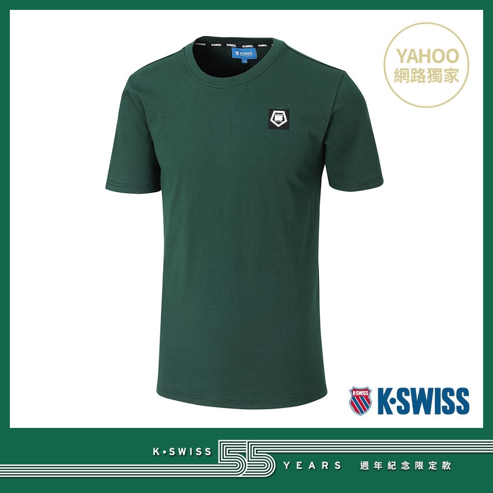 K-SWISS 55TH LOGO PATCH TEE棉質T恤-男-深綠