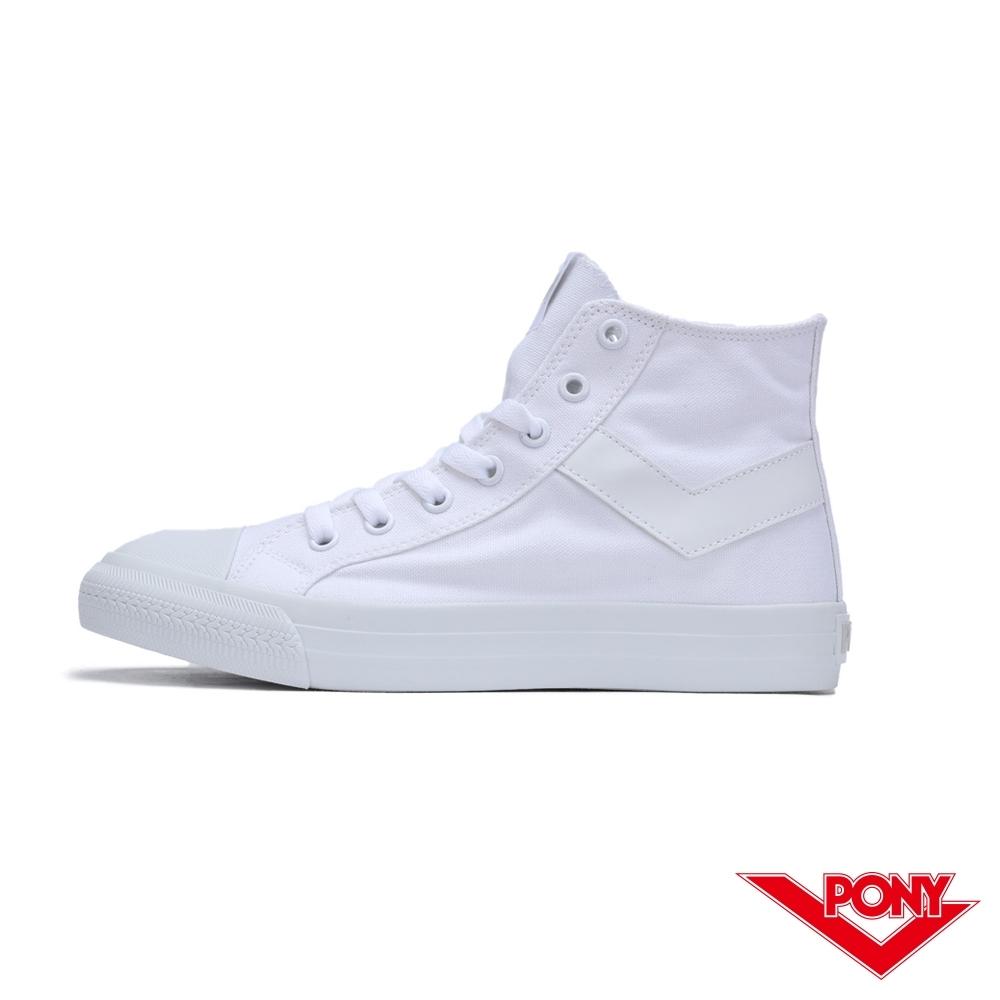 【PONY】Shooter系列高筒復古經典帆布鞋 休閒鞋 情侶鞋 小白鞋 女鞋 白色