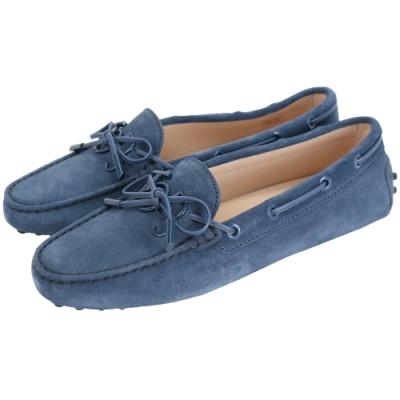 TOD'S Gommino 新版同色字母麂皮休閒豆豆鞋(女鞋/藍色)
