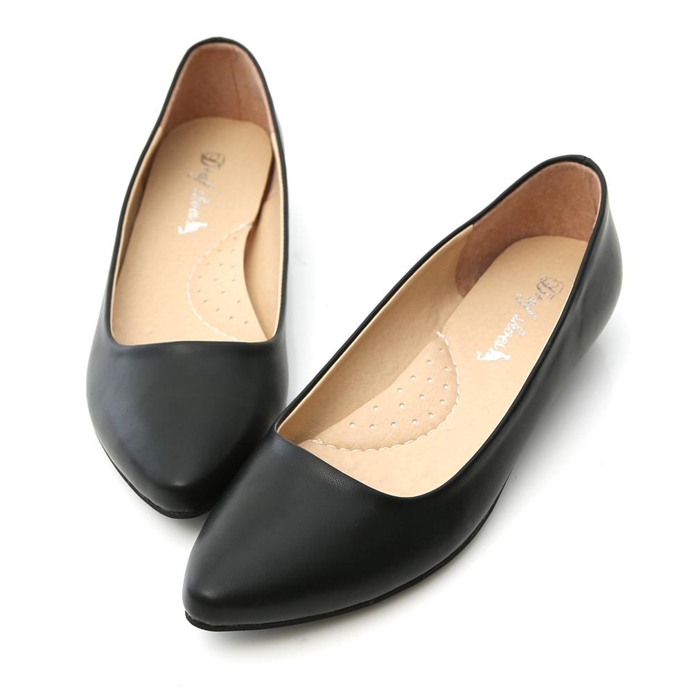 D+AF 通勤必備‧MIT素面微尖頭2cm低跟鞋*黑