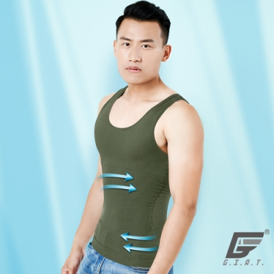 GIAT台灣製280D涼感直紋機能塑身背心(古綠)