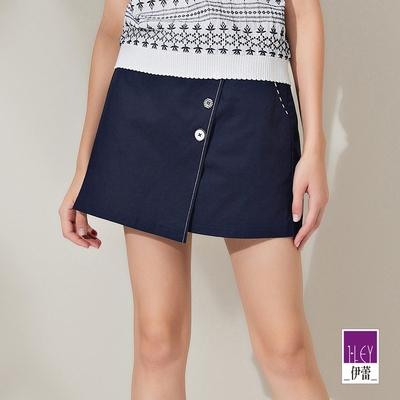 ILEY伊蕾 線條造型活片高含棉彈性短褲裙(深藍)1212062437