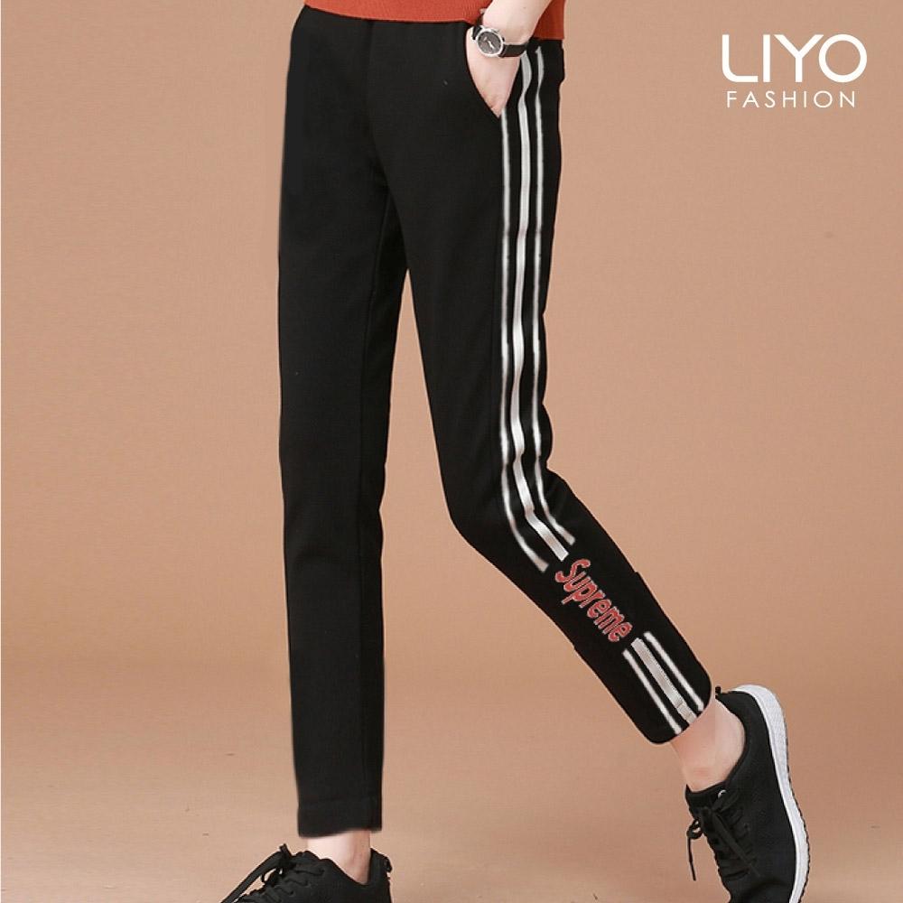 褲子-LIYO理優-超顯瘦美腿織帶褲-E011006