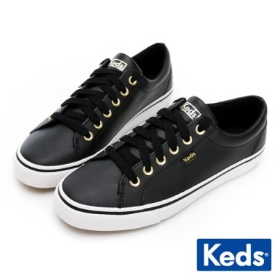 Keds JUMP KICK 簡約運動風皮革休閒鞋-黑
