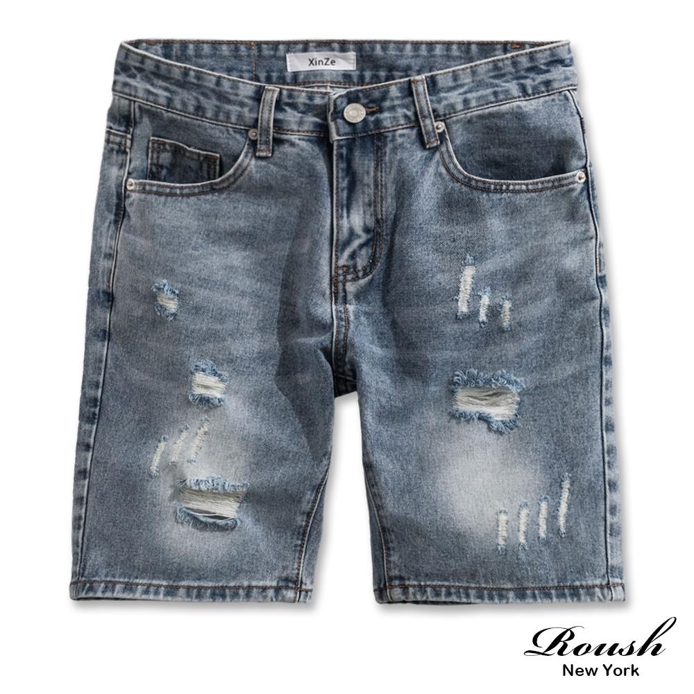 Roush 刷破鬚邊設計水洗牛仔短褲