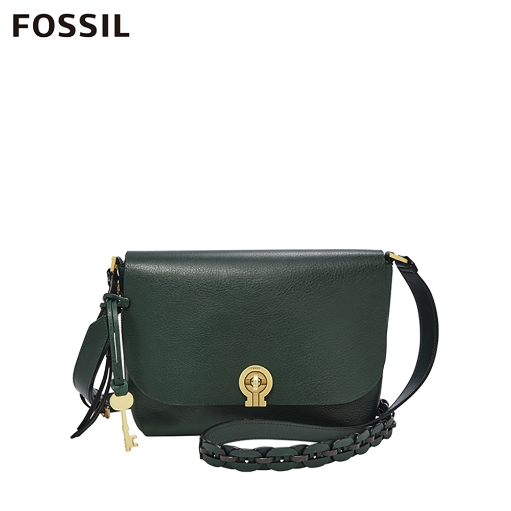 FOSSIL MAYA 復古轉鎖真皮斜背包-墨綠色 ZB7868366