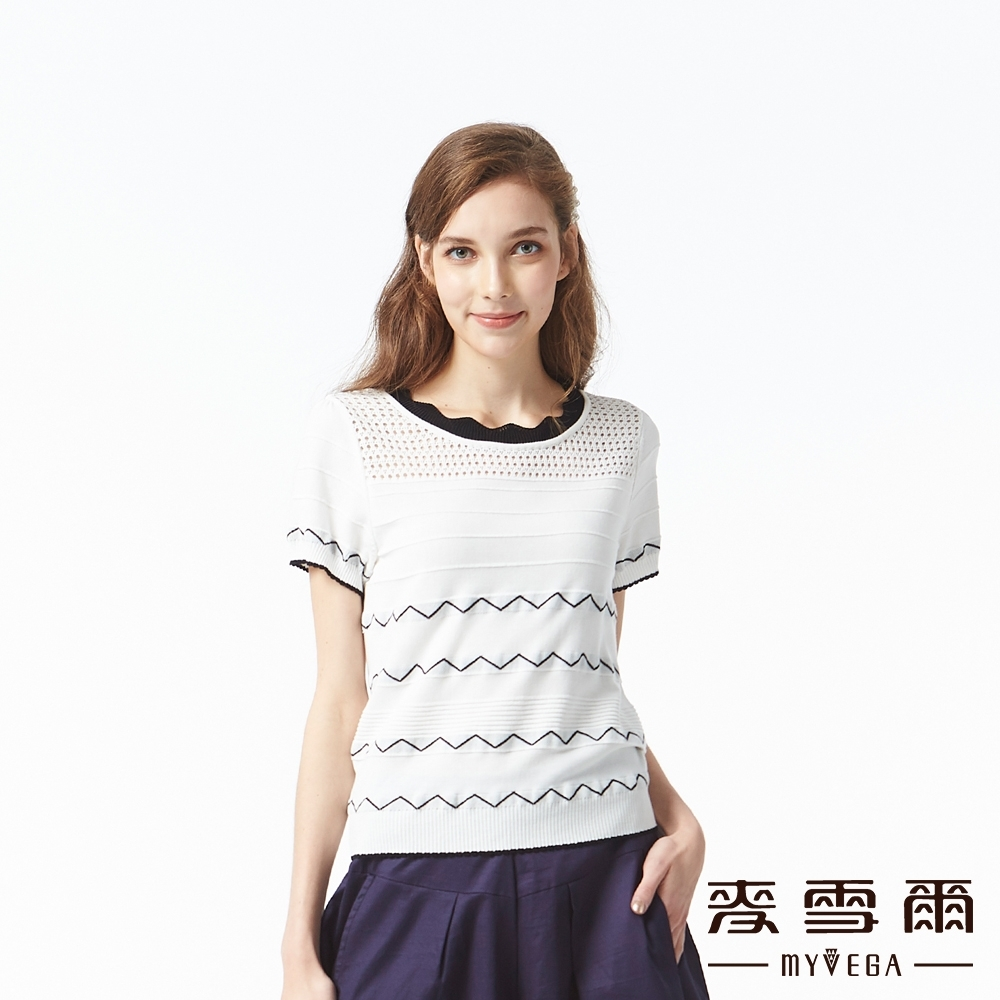麥雪爾 山形紋緹花短針織衫