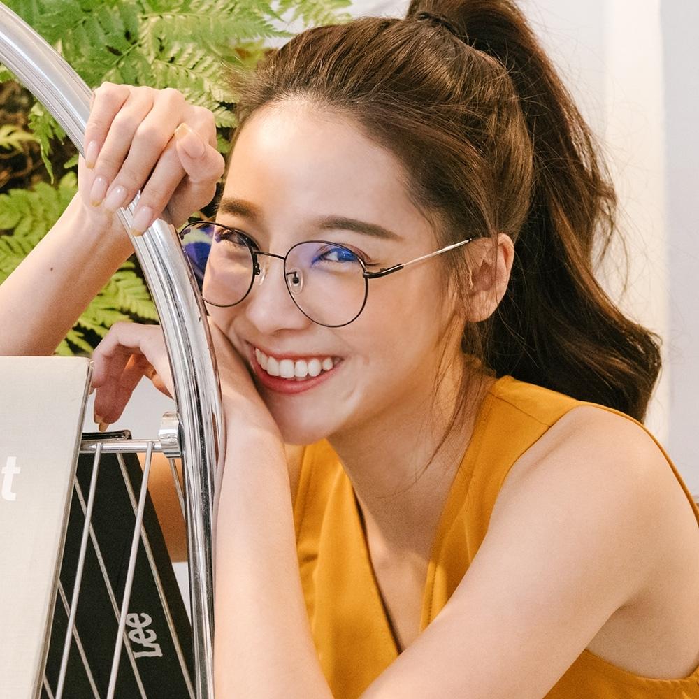 ALEGANT韓風私服穿搭輕量音符黑橢圓細框光學記憶鏡腳UV400濾藍光眼鏡