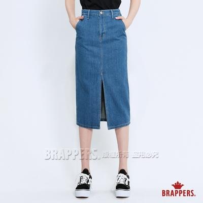 BRAPPERS 女款 Boy friend系列-前片開叉七分裙-淺藍
