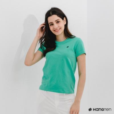 Hang Ten-女裝-有機棉圓領腳丫短袖T恤-綠色