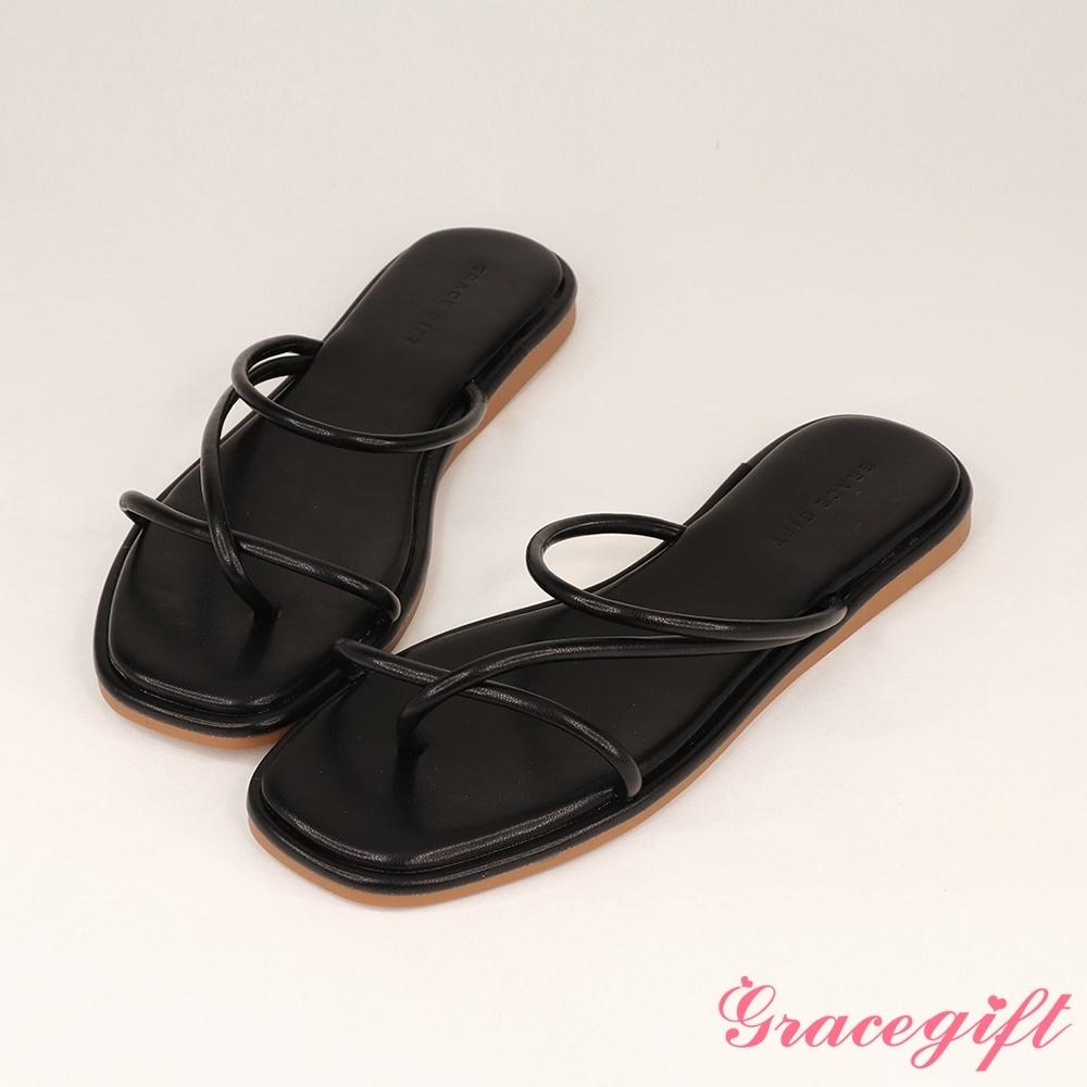 Grace gift-交叉夾腳細帶平底涼拖鞋 黑