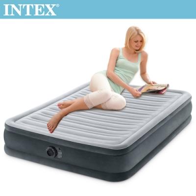 INTEX-豪華型橫條內建電動幫浦充氣床-雙人137cm(67767ED)