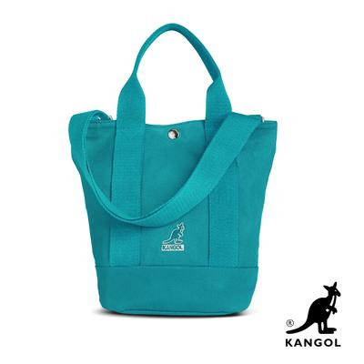 KANGOL 韓版玩色-帆布手提/斜背釦式小型水桶包-青藍 AKG1217