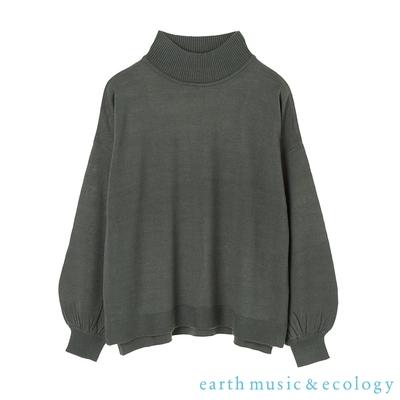 earth music 側開衩素面高領落肩針織上衣
