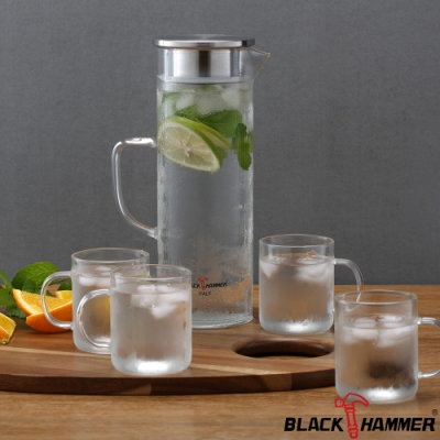 義大利BLACK HAMMER 極簡耐熱玻璃水壺組-1200ml(一壺四杯)