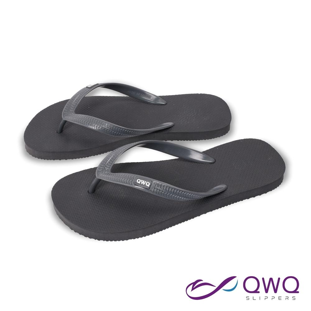 QWQ 男款橡膠防滑夾腳拖鞋-鞋帶保固-休閒拖鞋-經典TOP系列-深灰色(ABAA00808)