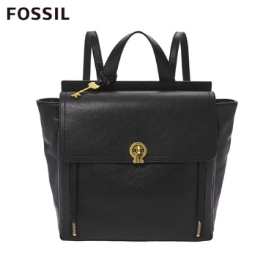 FOSSIL AMELIA 真皮時尚後背包-黑色 ZB7788001