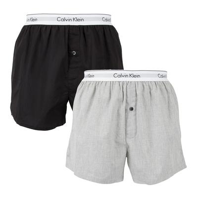 Calvin Klein Modern Body-Defining Fit棉質寬鬆版四角褲CK內褲-黑、灰 二入組