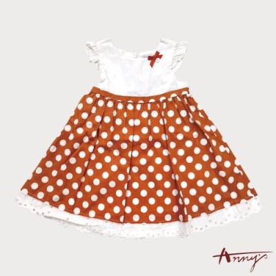 大點點荷葉袖蕾絲洋裝*2134桔