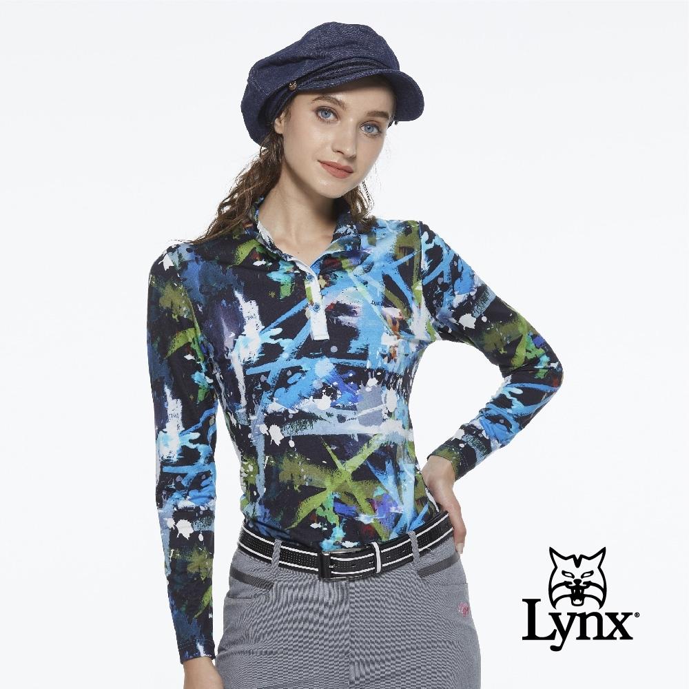 【Lynx Golf】女款進口布料潑漆塗鴉風花布長袖立領POLO衫-寶藍色