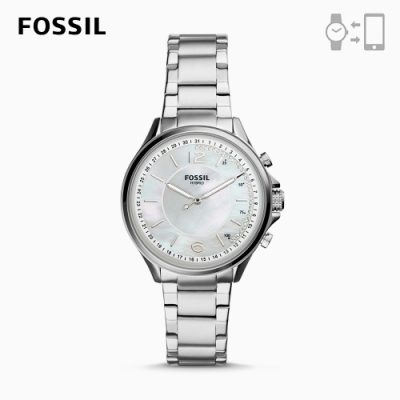 FOSSIL HYBIRD智能手錶 SADIE-珍珠母貝X質感銀不鏽鋼錶帶 38MM FTW5073