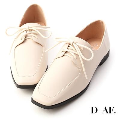 D+AF 美好搭配.綁帶方頭平底牛津鞋*米